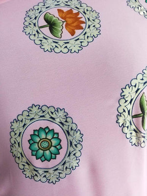 Floral Lotus Printed Georgette Fabric with Foil