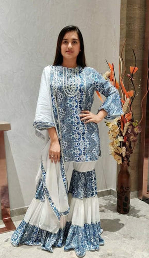 Short Kurta With Tiered Sharara Pants And Dupatta With Gota Detailing