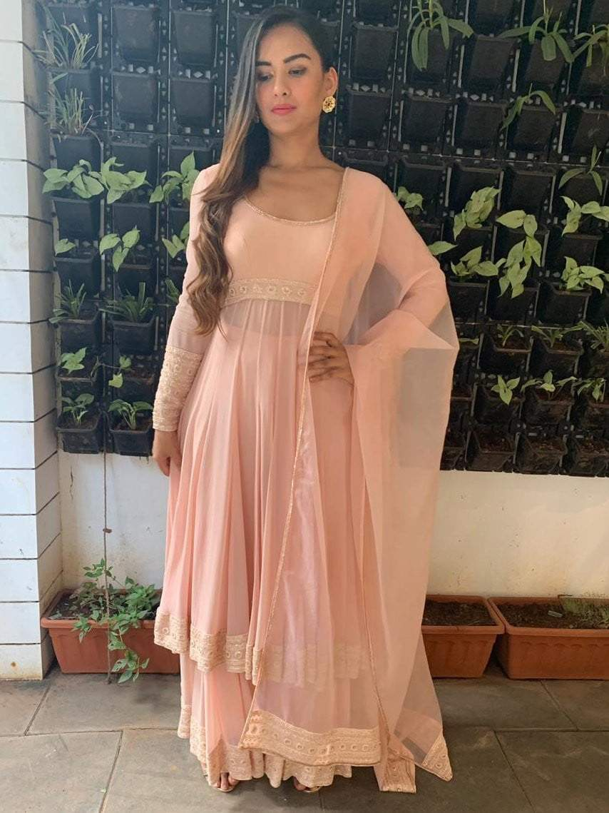 Peach anarkali with  kalidar palazzo pants and organza dupatta - zooomberg