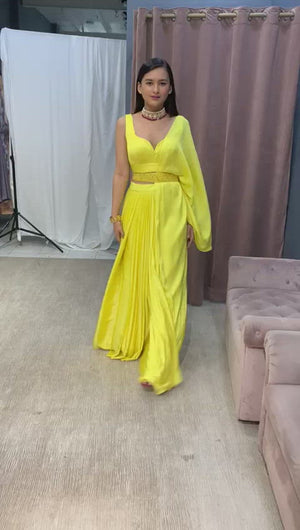 Yellow Skirt Drape Saree With Roushed Blouse And Embellished Belt