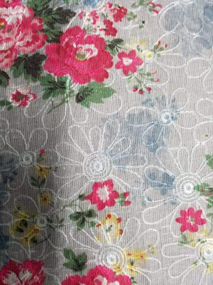 Floral Pattern Digital Printed Embroidery Linen Textured Fabric