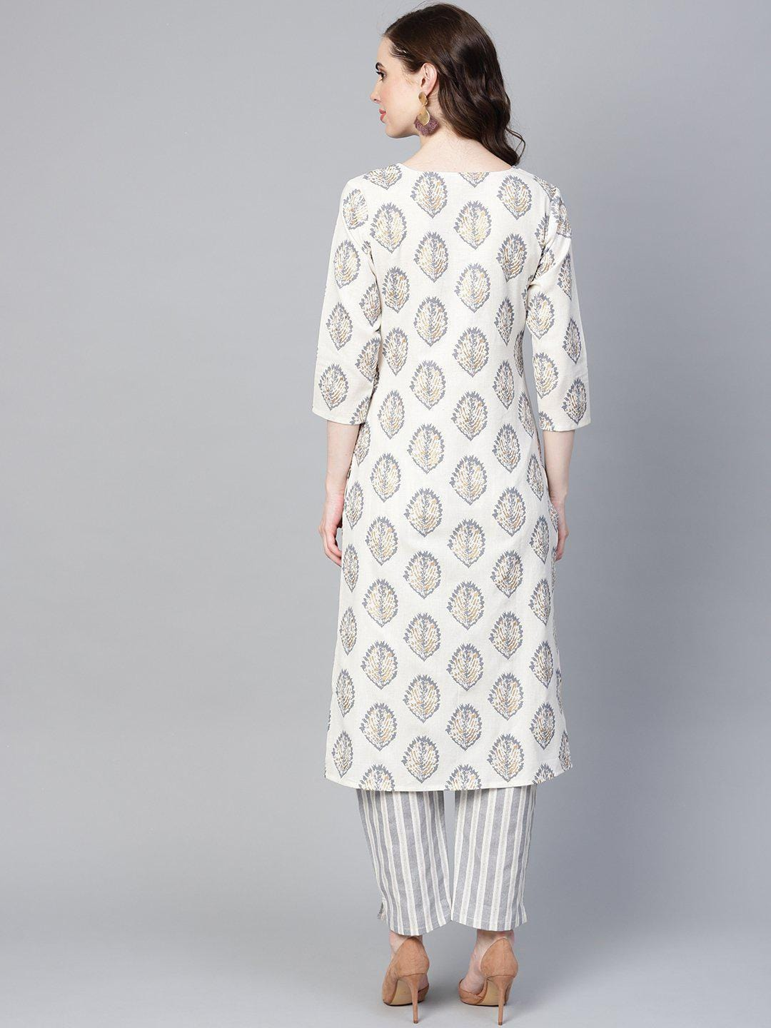 Women White & Grey Printed Kurta with Trousers - zooomberg