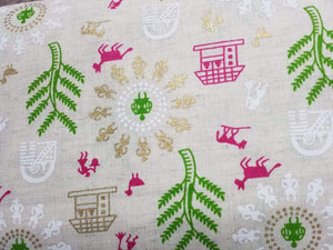 Green Warli Festive Pattern Cotton Flex Fabric with Gold and Khadi Print - Zooomberg