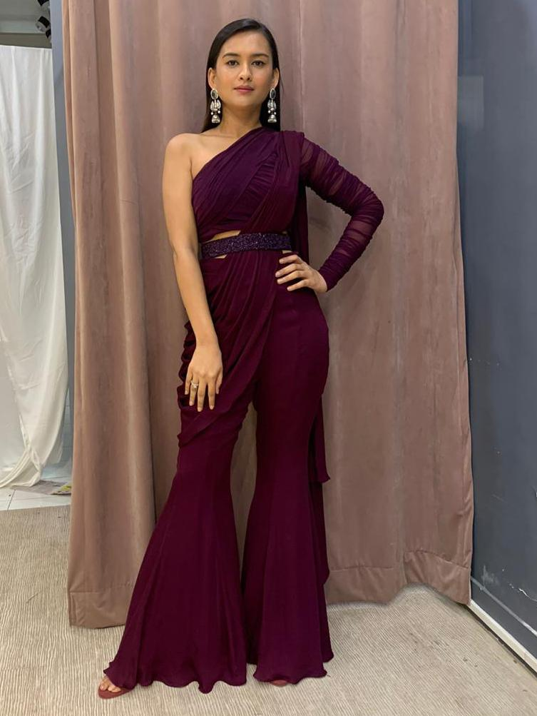 Deep Wine One Shoulder Gathered Blouse With Fit N Flare Pant Drape And Embellished Belt - Two Piece Outfits - Zooomberg - Zoomberg