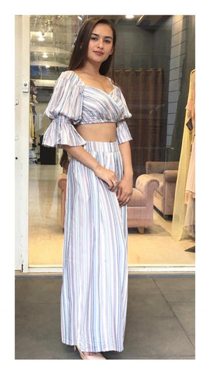 Blue & Grey Striped Balloon Sleeve Crop Top and Palazzo Pants - Zooomberg