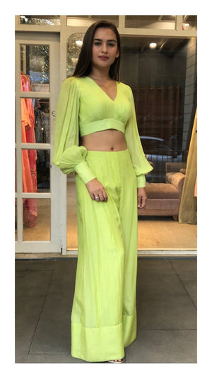 Neon Green Balloon Sleeve Crop Top