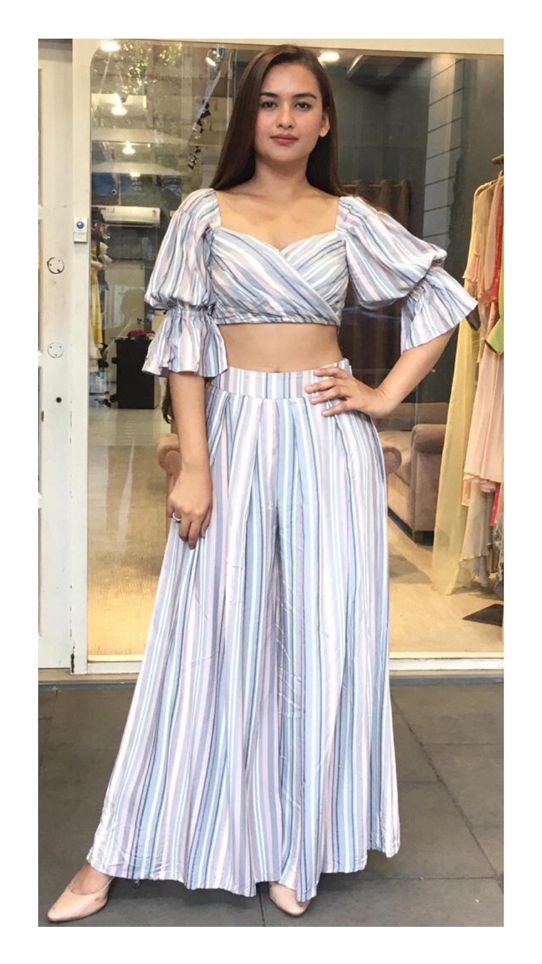 Blue & Grey Striped Balloon Sleeve Crop Top and Palazzo Pants