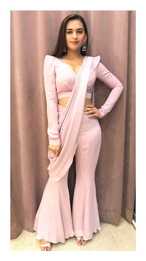 Onion Pink Extended Shoulder Blouse With Fit N Flare Pant Drape - Zooomberg