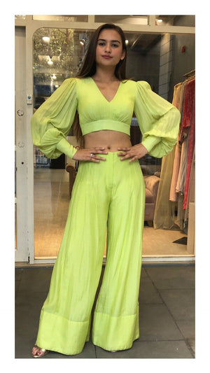 Neon Green Balloon Sleeve Crop Top - Zooomberg