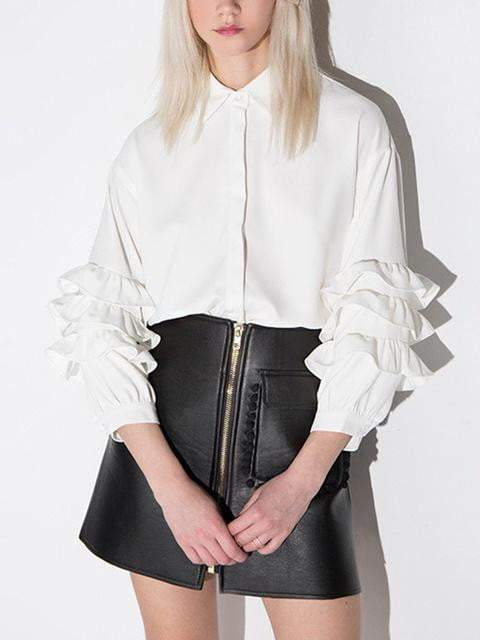 Vintage Long Sleeves Ruffle Top - zooomberg