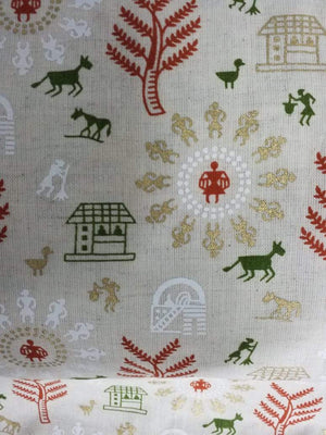 Orange Warli Festive Pattern Cotton Flex Fabric with Gold and Khadi Print - Zooomberg