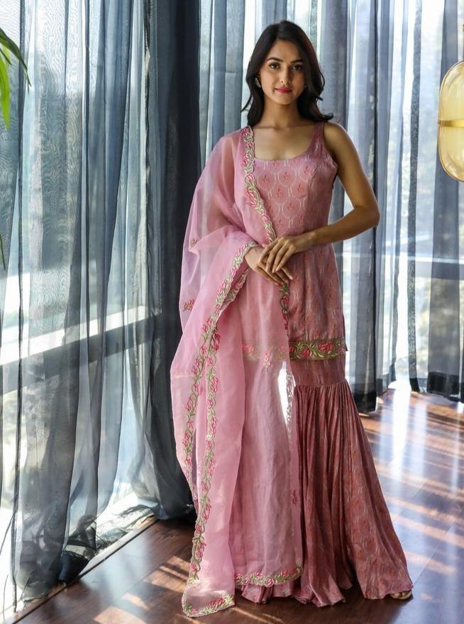Pink Motif Printed Kurta With Sharara And Dupatta With Embroidery