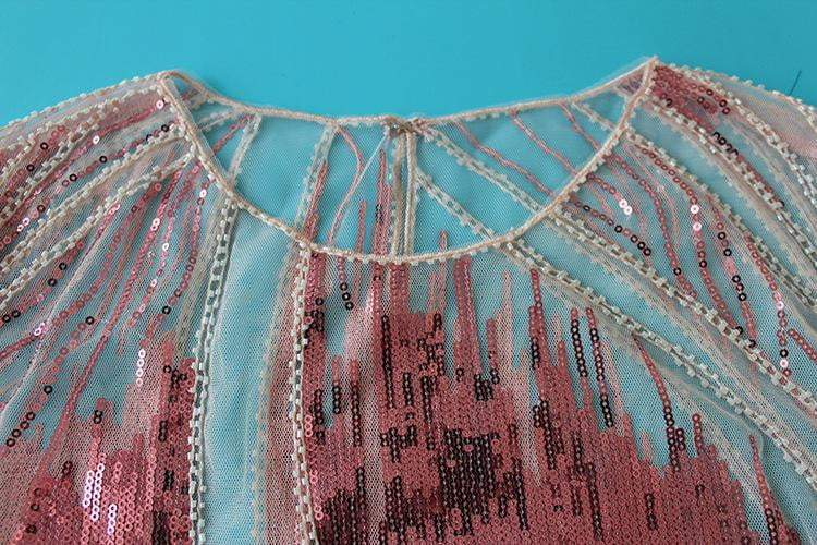 Embroidery Sequin Bead Sheer Lace Mesh Summer Blouse - zooomberg