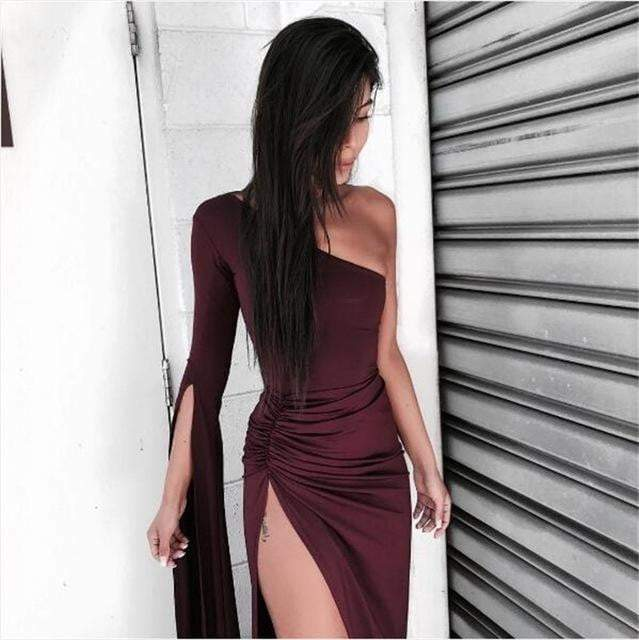 Winered Long Sleeve Elastic Dress - Dresses - Zooomberg - Zoomberg