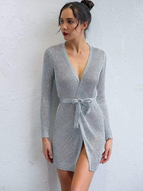 Silver Solid V-Neck Long Sleeve Mini Dress