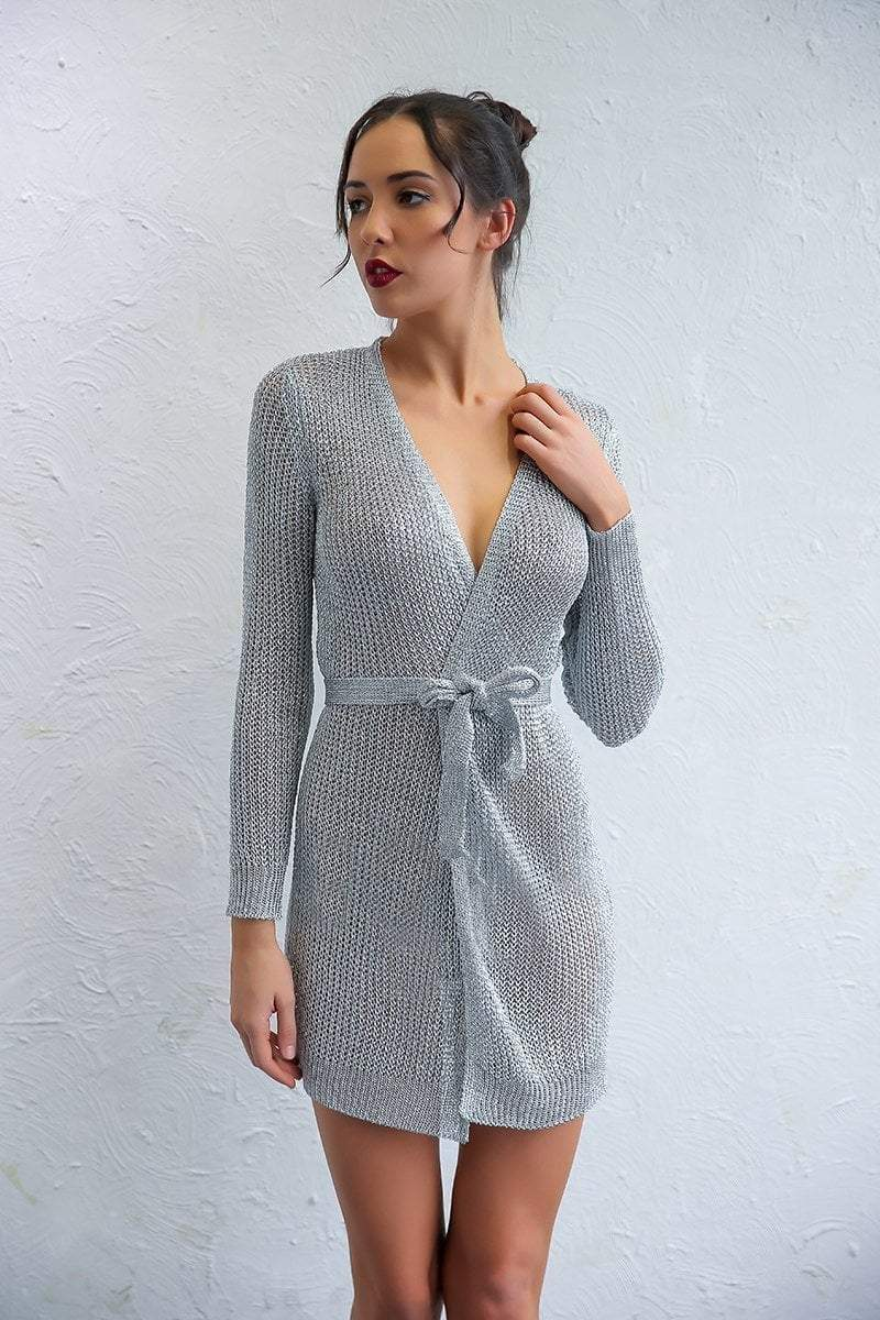 Silver Solid V-Neck Long Sleeve Mini Dress - zooomberg