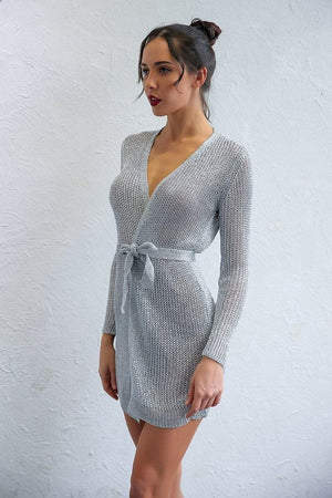 Silver Solid V-Neck Long Sleeve Mini Dress - Dresses - Zooomberg - Zoomberg