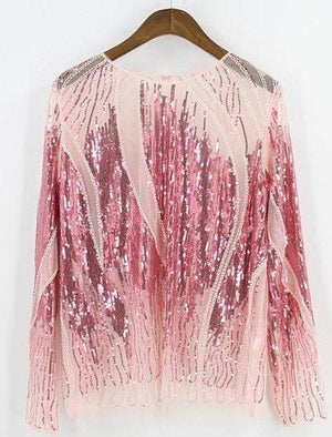 Embroidery Sequin Bead Sheer Lace Mesh Summer Blouse
