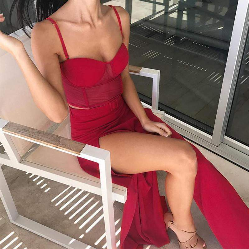 Boho Elegant Red Strap Sexy Co-Ord - zooomberg