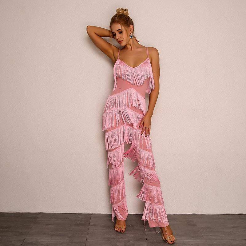 Pink Elegant Backless V-Neck Sexy Women Jumpsuit - zooomberg