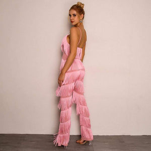 Pink Elegant Backless V-Neck Sexy Women Jumpsuit - Jumpsuits - Zooomberg - Zoomberg