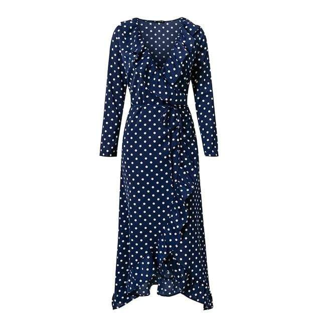 Polka Dot Ruffle Wrap Long Dress - zooomberg