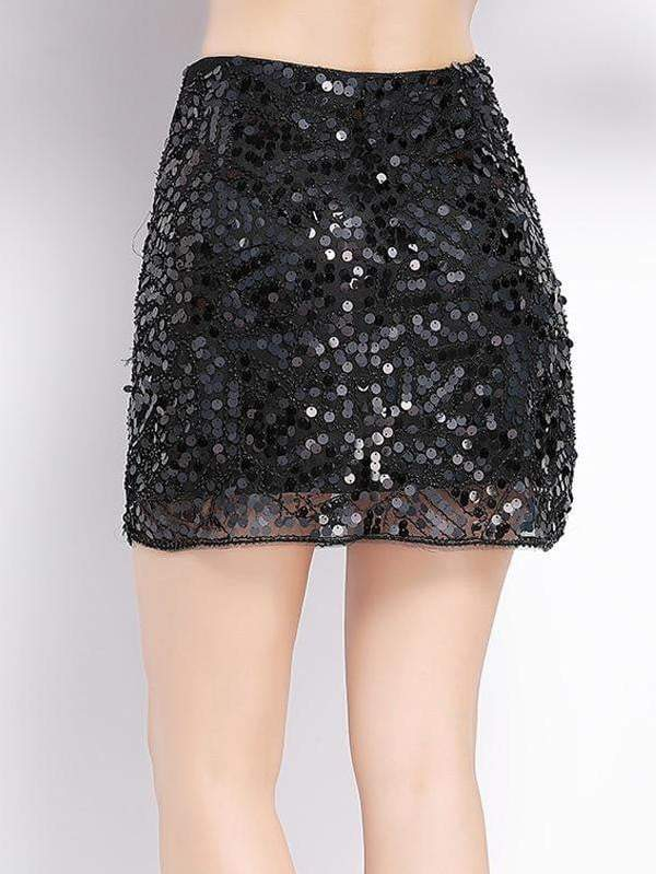 Mini Beaded Sequin Bodycon Pencil Skirt - zooomberg