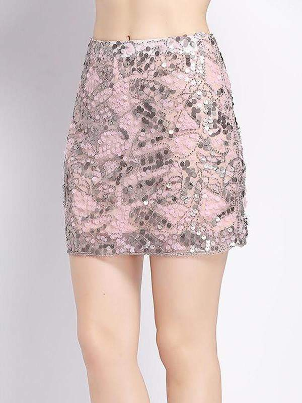 Mini Beaded Sequin Bodycon Pencil Skirt