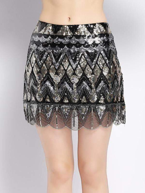 Luxurious Designer Sequined Beaded Vintage Mini Pencil Skirt