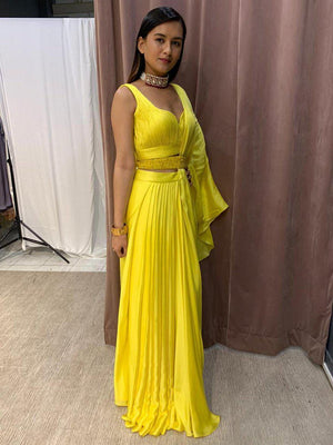 Yellow Skirt Drape Saree With Roushed Blouse And Embellished Belt - Two Piece Outfits - Zooomberg - Zoomberg
