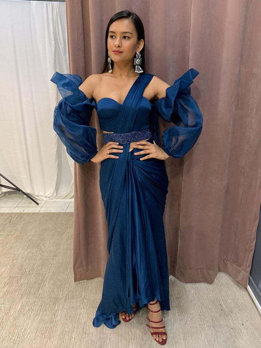Teal Blue Skirt Drape Saree With Balloon Sleeve Off Shoulder Blouse An Zooomberg