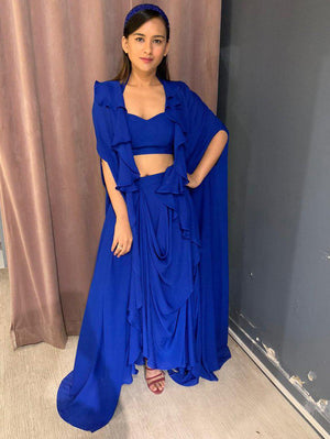 Electric Blue Ruffled Cape With Halter Neck Bustier & Drape Skirt - Two Piece Outfits - Zooomberg - Zoomberg