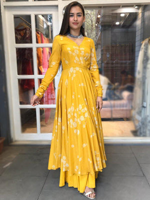 Printed Yellow Overlap Anarkali With Super Flared Palazzos - Two Piece Outfits - Zooomberg - Zoomberg