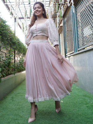 Chikankari Crop Top With Super Flared Skirt - Two Piece Outfits - Zooomberg - Zoomberg