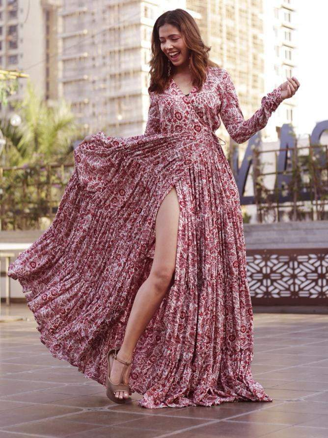 Floral Printed Overlap Full Length Layered Dress