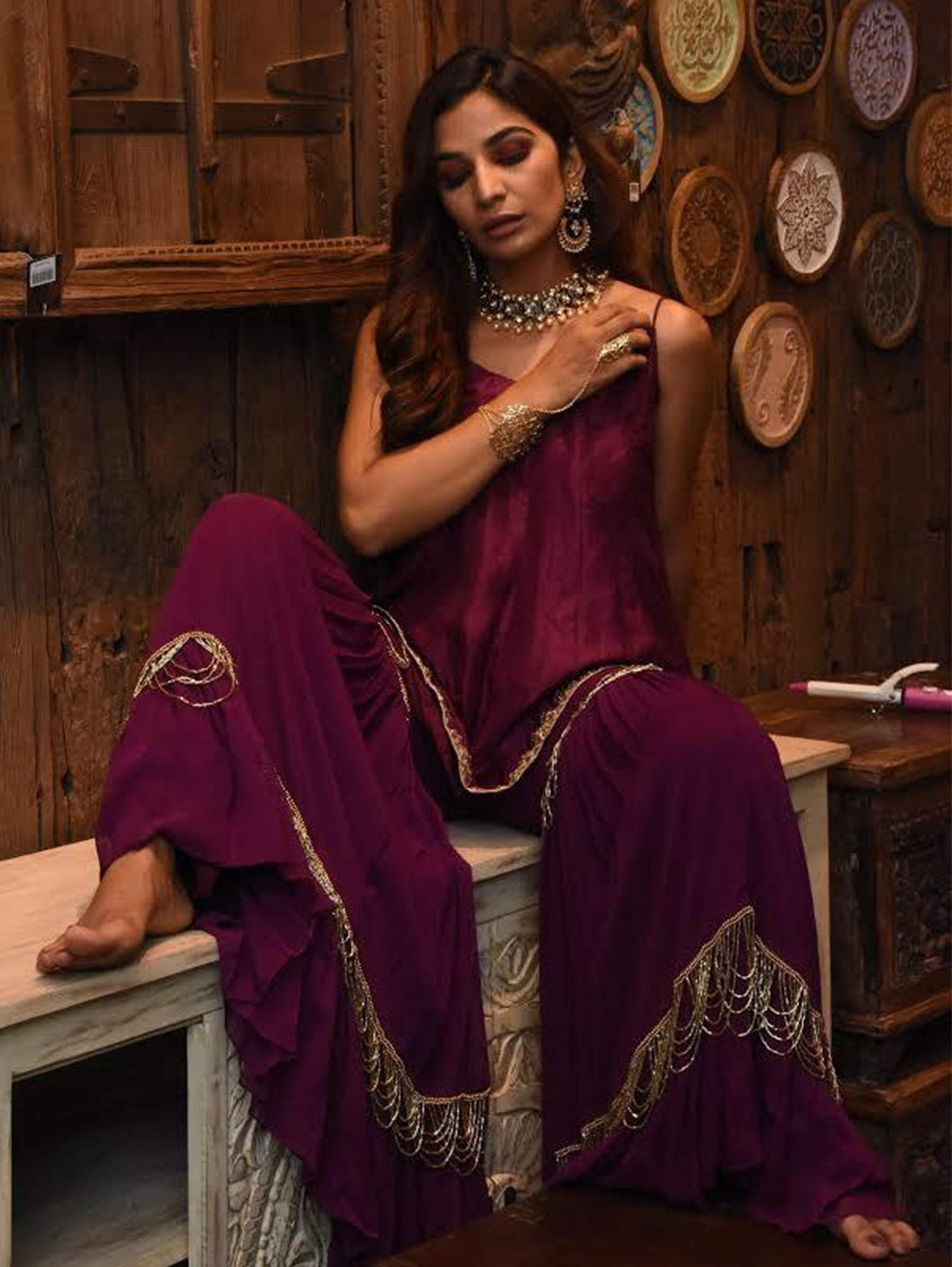 Wine Cami Fit&Flare Kurta With Sharara Pants
