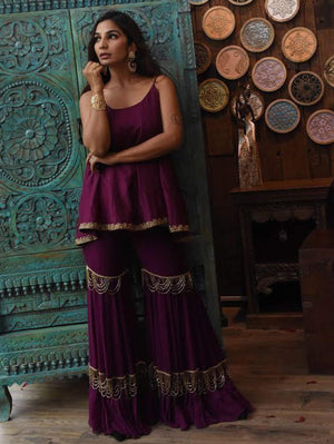 Wine Cami Fit&Flare Kurta With Sharara Pants - Kurti Set - Zooomberg - Zoomberg
