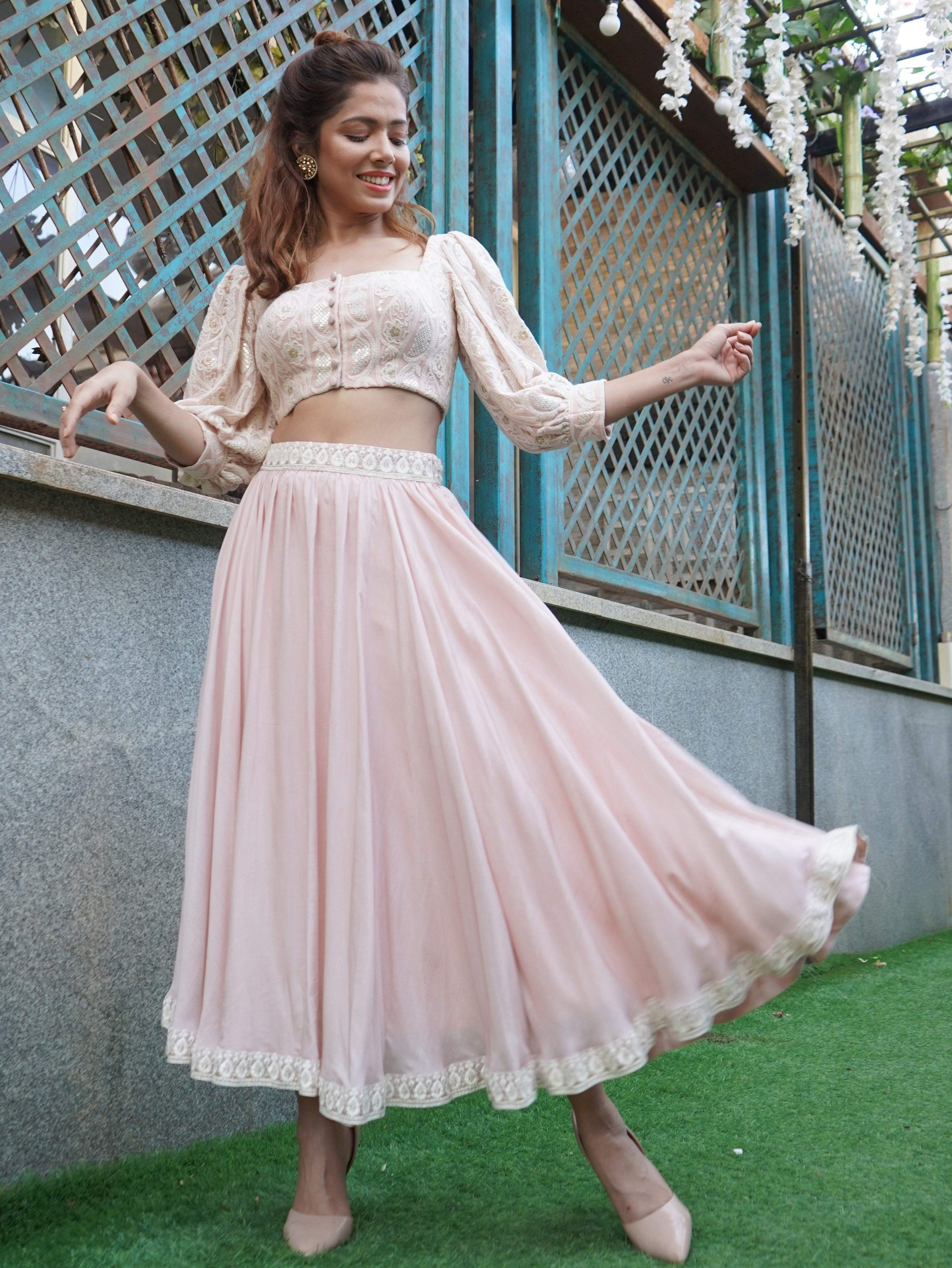 Chikankari Crop Top With Super Flared Skirt - zooomberg