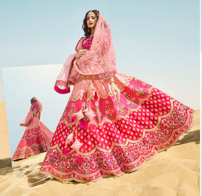 KUBERAN PEACH PINK DESIGNER LEHENGA FOR BRIDE