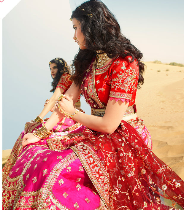 KUBERAN PINK RED DESIGNER LEHENGA FOR BRIDE