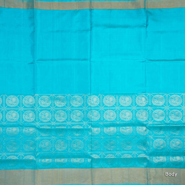 Kuberan Sky Blue Soft Silk Saree