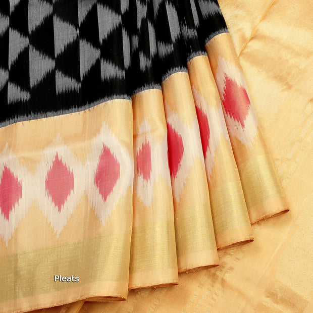 Kuberan Black Cream Soft Silk Saree Bangalore