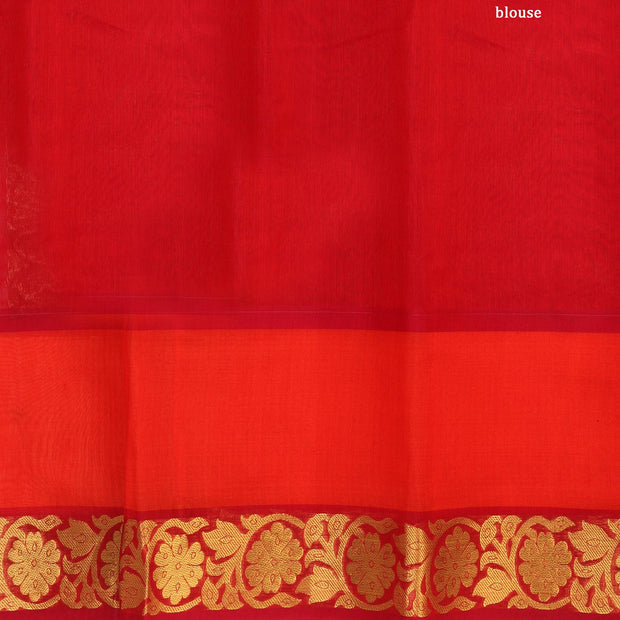 Kuberan Green Orange Cotton Silk Saree
