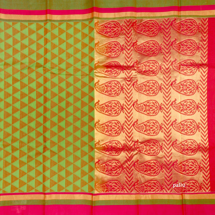 Kuberan Green Cotton Silk Saree