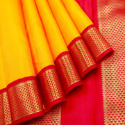 Kuberan Yellow Red 9 Yards Silk Saree