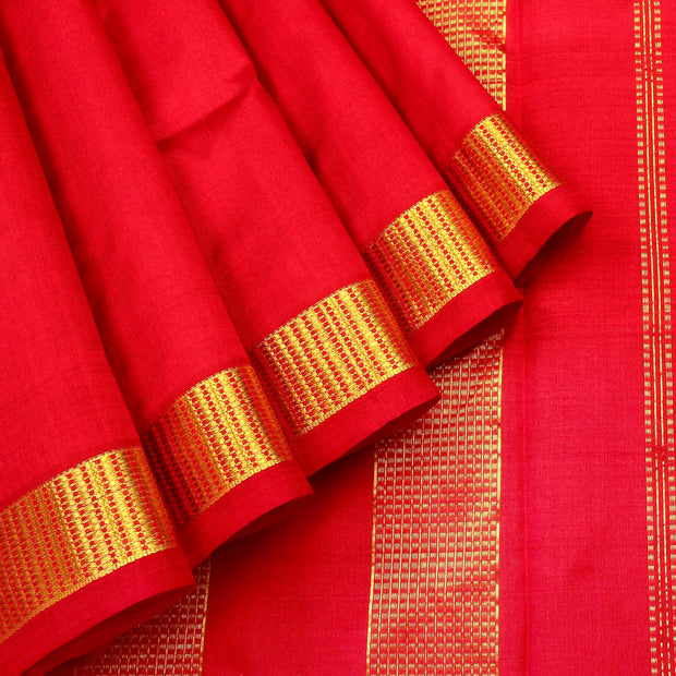 Kuberan Dark Red 9 Yards Silk Saree