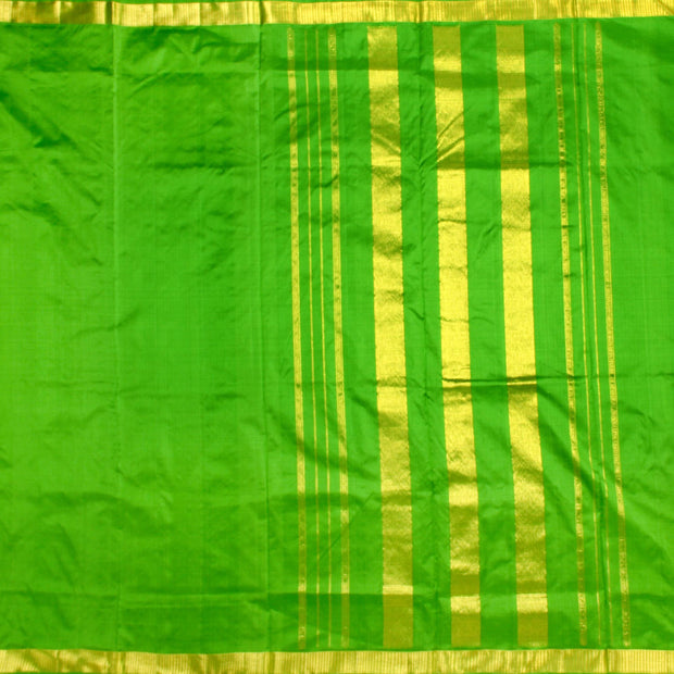 Kuberan Parrot Green 9 Yards Silk Saree