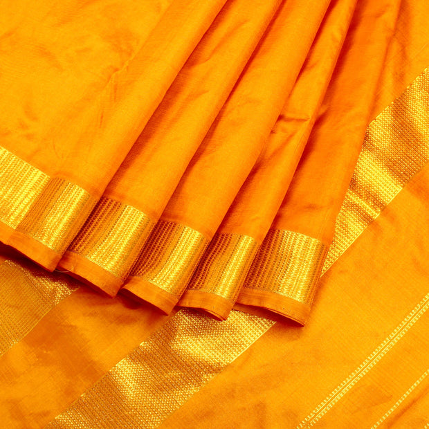 Kuberan Bright Yellow 9 Yards Silk Saree