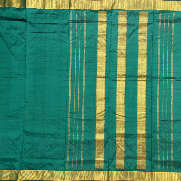 Kuberan Rama Green 9 Yards Silk Saree