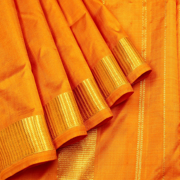 Kuberan Golden Yellow 9 yards Silk Saree